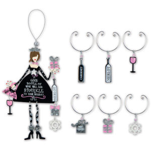 Sparkle Girl Ornament and Wine Charms