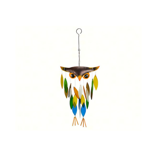 Spikey Owl Chime with colorful glass chimes
