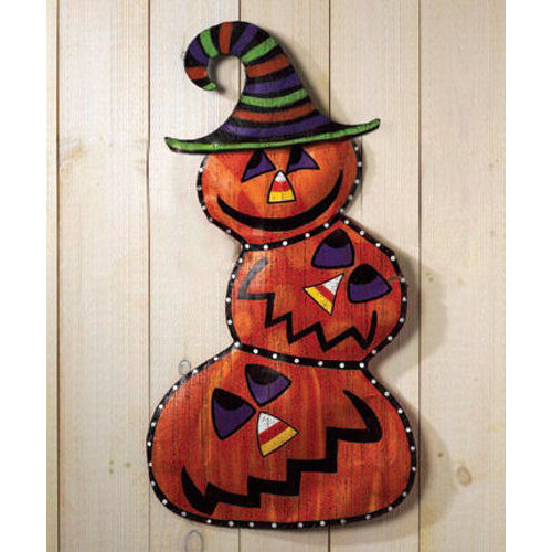 Stacked Pumpkin Halloween Door Decoration