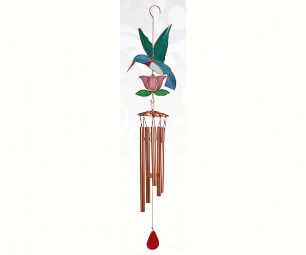 stain glass hummingbird large wind chime