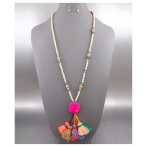 Tassel and Pompom Beaded Neklace