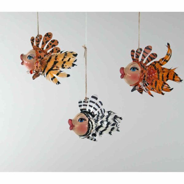 Tiger or Leopard or Zebra Kissing Fish Ornament