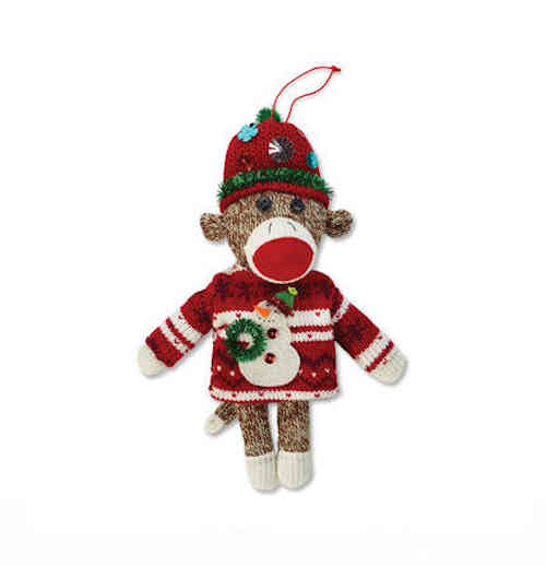 Ugly Sweater Sock Monkey Ornament