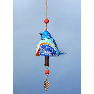 Vibrant Bluebird Ceramic Bell