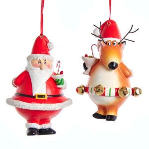 Whimsical Reindeer and Santa Ornaments