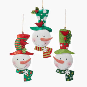 Whimsical Snowman Head Ornaments