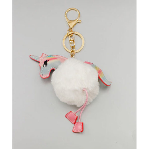 White Pompom Unicorn Keychain