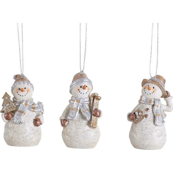 White Resin Snowman Ornaments