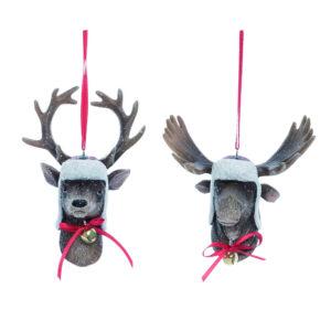 Winter Deer and Moose Head Ornament