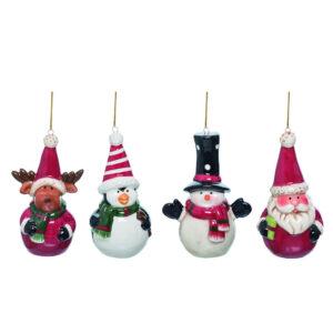 Winter Moose, Penguin, Snowman, Santa Ornaments