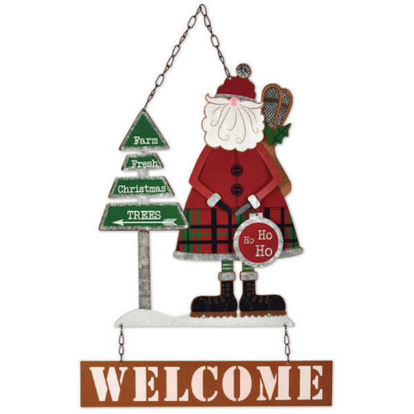 Welcome Winter Santa Metal Sign