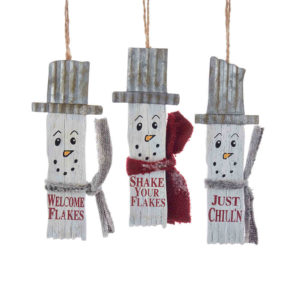 Wooden Snowman Slat Ornament