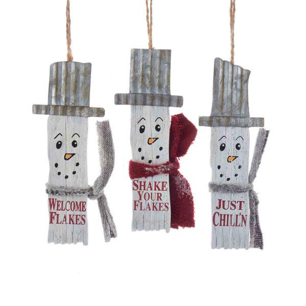 Wooden Snowman Slat Ornament